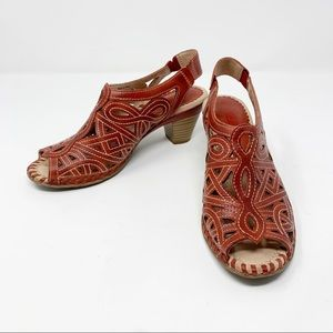 Pikolinos Red Leather Open Toe Sandal 37